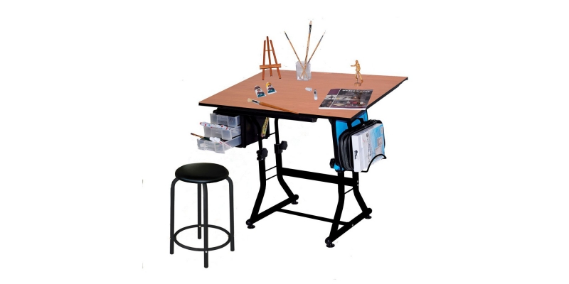 Martin Ashley Art-Hobby Table with Stool, Black with Cherry Top