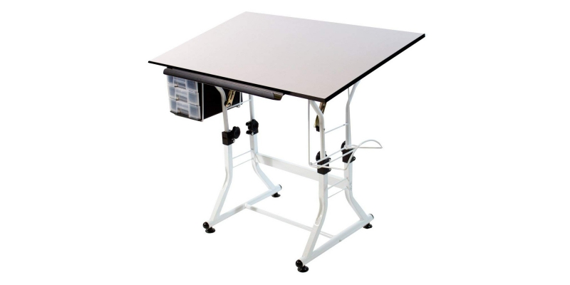 Martin Ashley Art-Hobby Table with Stool, White with Cherry Top