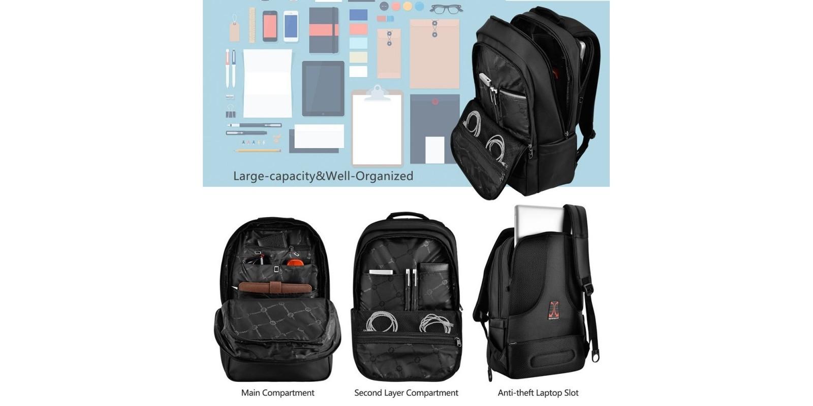 kopack Deluxe Black Waterproof Laptop Backpack – Details