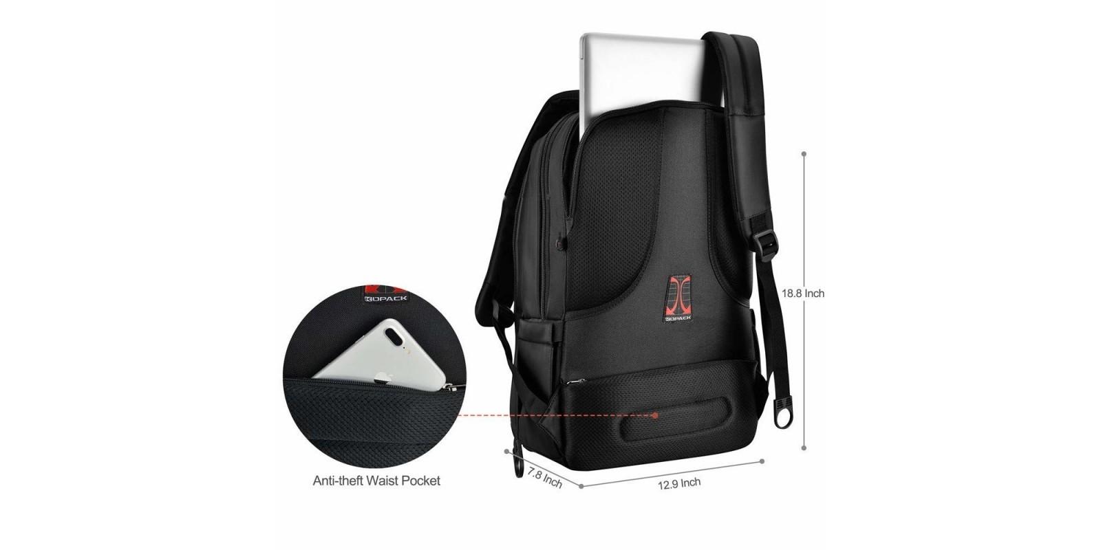 kopack Deluxe Black Waterproof Laptop Backpage – Dimensions