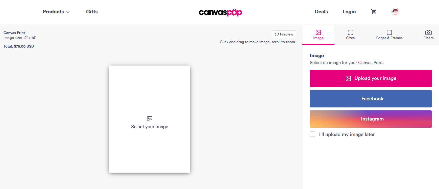 Canvas Pop Ordering Page
