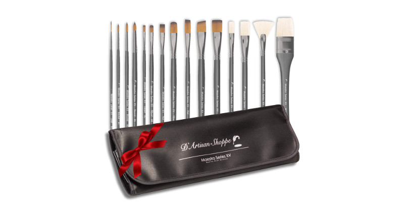D'Artisan Maestro Series XV Acrylic Watercolor and Oil Paintbrush set 1
